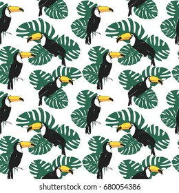 Vector tropical summer seamless pattern with toucan, monstera leaves