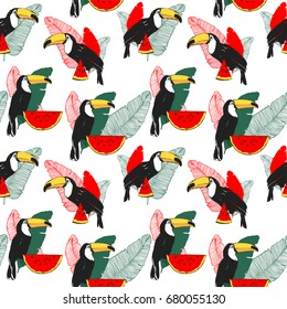Vector tropical summer seamless pattern with toucan, banana leaves and watermelone