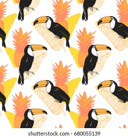Vector tropical summer seamless pattern with toucan, banana leaves and ananas