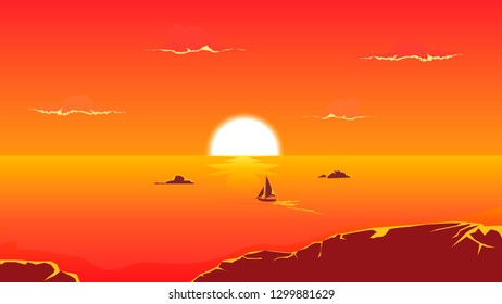 vector tropical sunset sea
