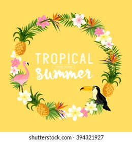A vector tropical themed wreath.