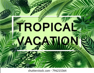 vector tropical vacation banner with exotic leaves in a cut paper style