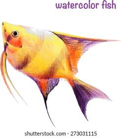 Vector tropical watercolor yellow fish