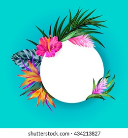 vector tropical wreath. amazing exotic flowers - hibiscus, pink quill, bird of paradise, banana, palm. on turquoise background, round frame with flowers arrangement.