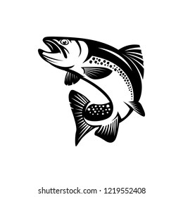 vector trout fish, fishing sign