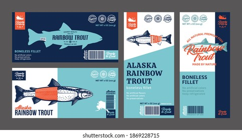 Vector trout labels and packaging design concepts. Rainbow trout fish illustrations. Flat style seafood labels for groceries, fisheries, packaging, and advertising