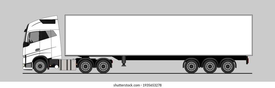 Vector truck, lorry, semitrailer, side view. White blank template truck, semi-trailer for advertising. Freight transportation. Modern flat vector illustration
