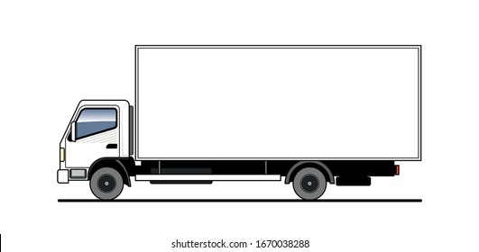 Vector truck, lorry, side view. White blank truck template for advertising. Freight transportation. Modern flat vector illustration isolated.