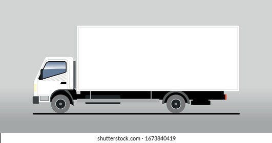 Vector truck, lorry, side view. White blank truck template for advertising. Freight transportation. Modern flat vector illustration