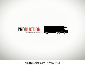 Vector truck silhouette for web and infographics