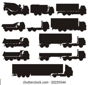 Vector truck silhouettes set. More vector transport see in my portfolio.