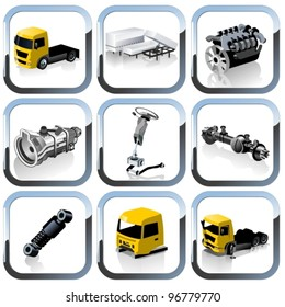 Vector truck spares icons set