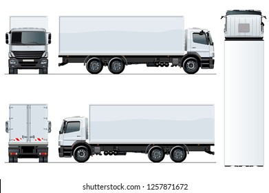 Vector truck template isolated on white for car branding and advertising. Available EPS-10 separated by groups and layers with transparency effects for one-click repaint.