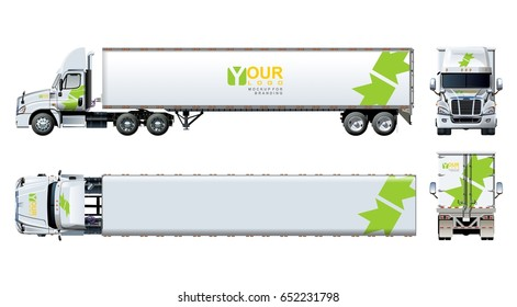 Vector truck template isolated on white. Available EPS-10 separated by groups and layers with transparency effects for one-click repaint and clipping mask for branding