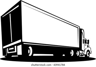 vector of a Truck and trailer isolated on white background