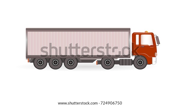 Vector Truck Trailer Red Cabin Template Stock Vector