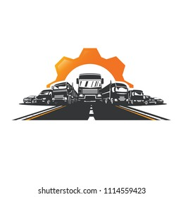 Vector trucks and cars, on road.