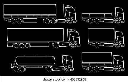Vector trucks icons set.