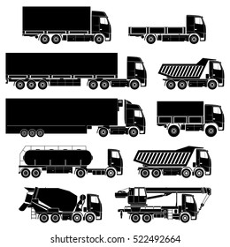 Vector trucks icons set.