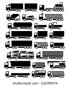 Vector trucks icons set