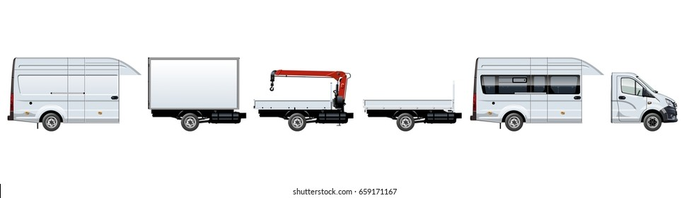 Vector trucks template set for brand identity. Available EPS-10 separated by groups and layers with transparency effects for one-click repaint.
