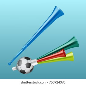 Vector trumpets football fan different types. Isolated on blue background