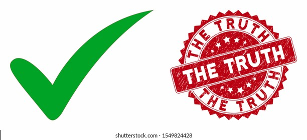 Vector the truth icon and corroded round stamp seal with The Truth text. Flat the truth icon is isolated on a white background. The Truth stamp seal uses red color and grunged surface.