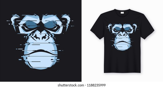 Vector t-shirt and apparel design with glitchy head of a chimp ape. Global swatches.