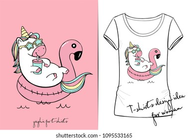 Vector t-shirt of cute cartoon unicorn swimming on pool ring inflatable flamingo among the sea with star glasses and cocktail
