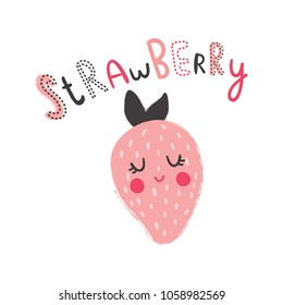 vector t-shirt design for kids, cute strawberry with hand lettering text