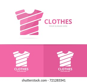 Vector of t-shirt logo combination. Garment and cloth symbol or icon. Unique apparel and fashion logotype design template.