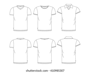 Vector t-shirt template front, back view. Vector t-shirts isolated on white. White vector tshirt. Tree kinds men's tshirts.