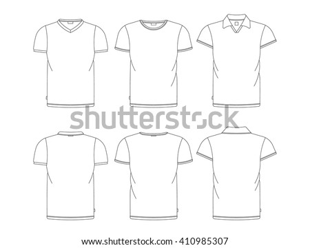 Vector T Shirt Template Front Back View Shirts Isolated On