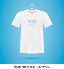 Vector T-shirt. White short sleeve T-shirt on a hanger.