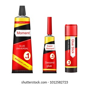 Vector tubes of glue - adhesive stick, super and moment paste for repair, fixing, instant gluing on white background. Internet, networking, advertisement illustration