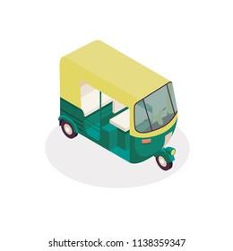 vector tuk-tuk. indian auto rickshaw concept. delhi auto. minimal design. vector isometric illustration, 3d icon, white background.