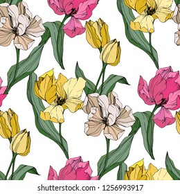 Vector Tulip engraved ink art. Floral botanical flower. Wild spring leaf wildflower isolated. Seamless background pattern. Fabric wallpaper print texture.