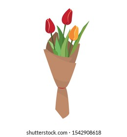 Vector tulips in kraft paper wrapping