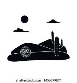 Vector tumbleweed and cactus design sign. Set of tumbleweed and west stock symbol for web.