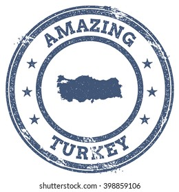 Vector Turkey travel stamp. Vintage amazing Turkey travel stamp with map outline. Turkey travel round grunge sticker with country map.