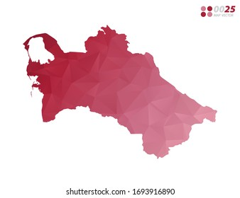 Vector of Turkmenistan map red polygon triangle mosaic with white background. style gradient.