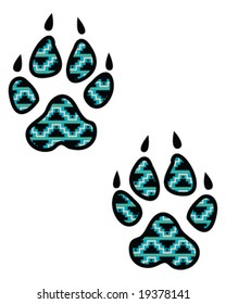 vector turquoise wolf tracks, native american indian style