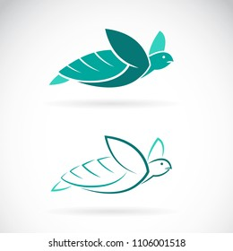 Vector of turtle design on white background. Sea animals. Easy editable layered vector illustration.