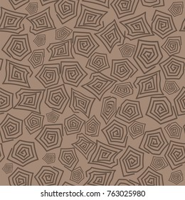 Vector Turtle Shell Seamless Pattern on Brown Background