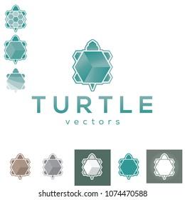 Vector Turtle Tortuga Geometric Hexagon Polygon Pixel Cube Square Logo Icon Brand Symbol Sign Shape Object Element Corporate Branding Professional Modern Business Tech