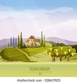 Vector Tuscan wine field composition (ideal for your design and prints)