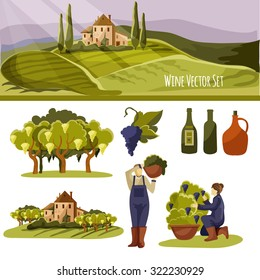 Vector Tuscan wine set (ideal for your design and prints)