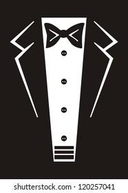 Vector tuxedo with black bow tie.