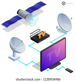 Vector tv antenna, realistic satellite antenna TV router, tv isometric icons.