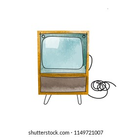 vector tv illustration. interior design mid century modern watercolor paint. vintage retro. history of television textured hand drawn.